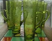BLENKO Handblown Crackle Glass Chimney HI-BALLS with Handles - 3627 H - Set of 5