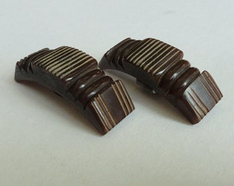 Carved BAKELITE SHOE CLIPS - Chocolate Brown