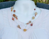 Triple Strand Orbit Necklace in Agate, Aventurine and Golden Cream Quartz