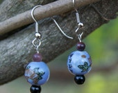 Asian Porcelain and Jasper Drop Earrings