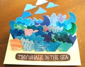 """cute whale&wave  stickers-""""TINY  WHALE in the sea"""""""