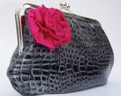 Black Clutch with a Hot Pink Flower and Dupioni Silk Lining