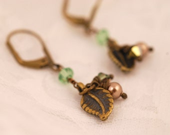 Brass Leaf and Pearl Earrings - Crystal