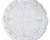 10 French Lace Doilies, 4-inch White