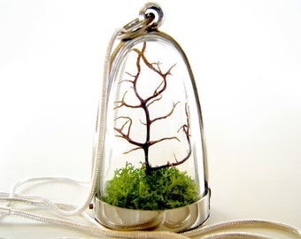 FREE Shipping and Free Gift Wrap Terrarium Necklace: Modern Tree and Moss Terrarium Necklace
