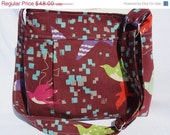 20% OFF SALE Messenger Bag  with Adjustable Strap - Pleated - Echino - Birds - Burgundy, Purple, Aqua, Pink, Grey, Orange, Green, White