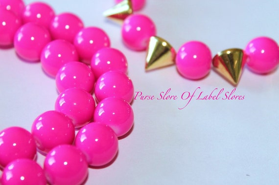 RESTOCKED 12mm Bright Neon Pink  Beads 30 pcs