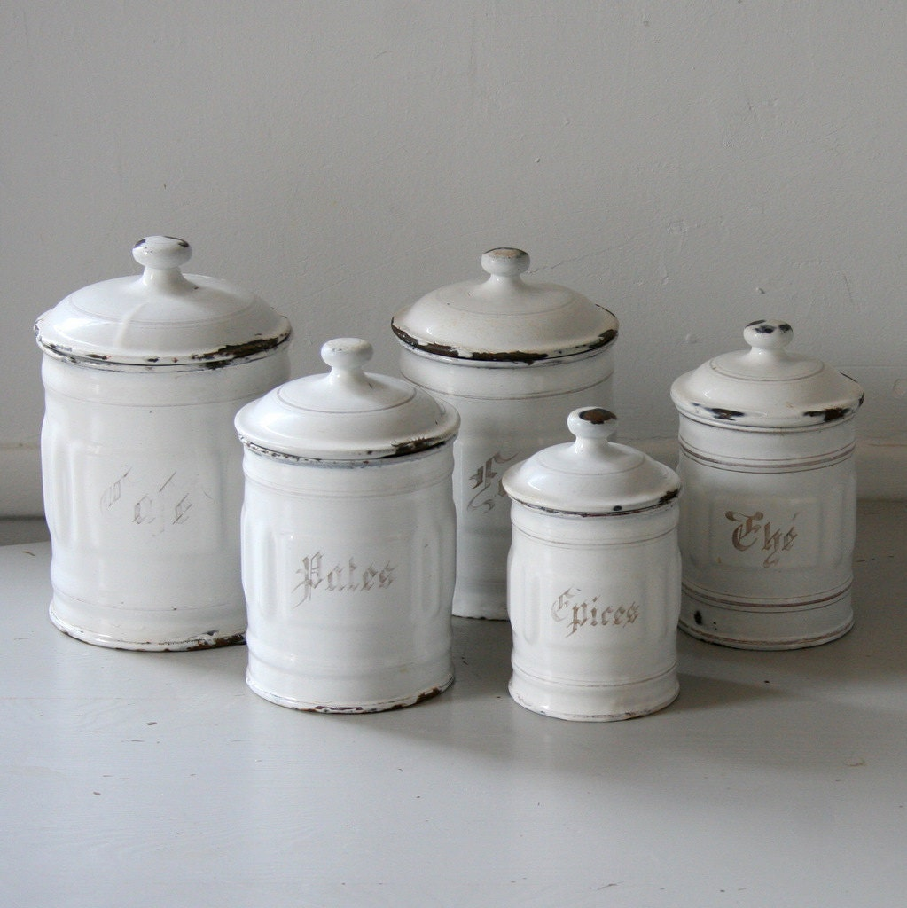 French enamel canister set for Kitchen kitchen set