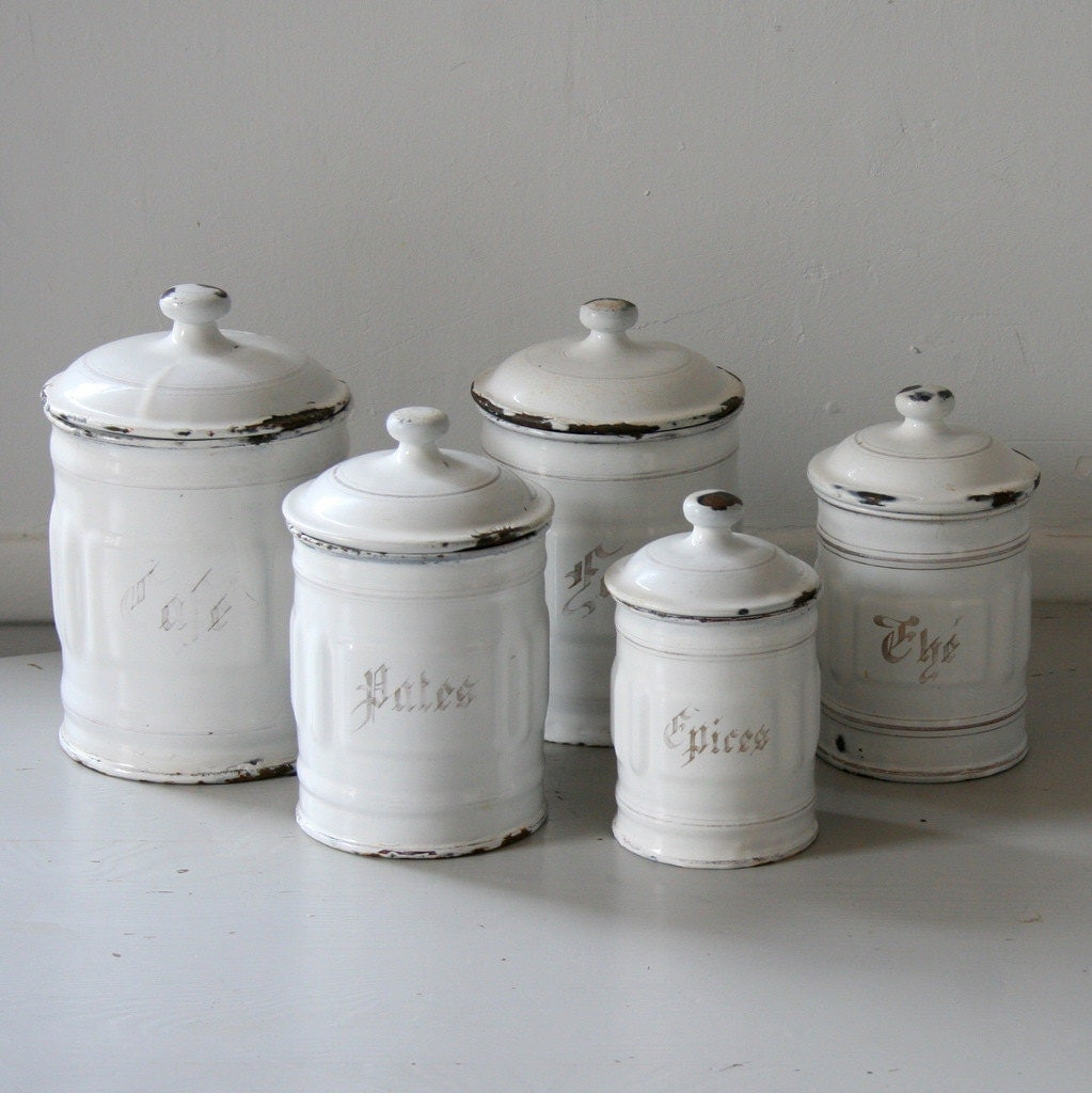 enamel kitchen canisters french enamel canister set 4684