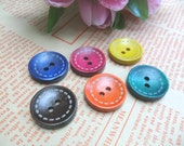Color Wooden Button 2 cm / 0.8 inch 12 pcs (Stock Clearance)