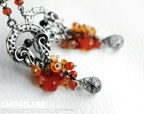Orange Twist - ornate dangle earrings, sterling and fine silver, carnelian, tourmalinated quartz, spinel, agate FREE shipping