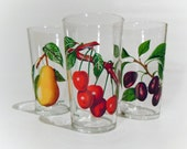 Set of 3 colourful and fruity soft drink glasses