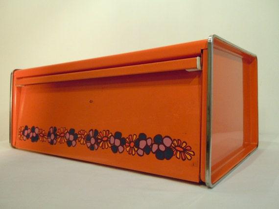Wonderful retro orange Dutch Brabantia tin bread-box with flower print