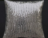RESERVED for DANA, Silver Sequin Cushion,12X 12 inches,Ivory cotton silk hand embroidered using silver sequins in a linear pattern