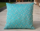Shimmer Gulp Cushion, 16 X 16 inches,Aqua cotton silk hand embroidered using silver long beads in a chevron pattern