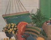 1960S KNIT A HAMMOCK Pattern, Instant Download, Vintage/Retro/Boho Hammock & 3 Cushions for Beach/Garden, Pdf from GrannyTakesATrip 0128