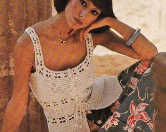 Lacy Boho Camisole 1970s VINTAGE CROCHET PATTERN, Retro/Folk/Gypsy Summer Sun Top Filet Lace Pattern, Instant Pdf from GrannyTakesATrip 0088
