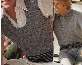 Men's Zipped Jacket 1970s VINTAGE KNIT PATTERN Preppy/Retro/Hipster Cardigan & Sleeveless Tank Top, Instant Pdf from GrannyTakesATrip 0137