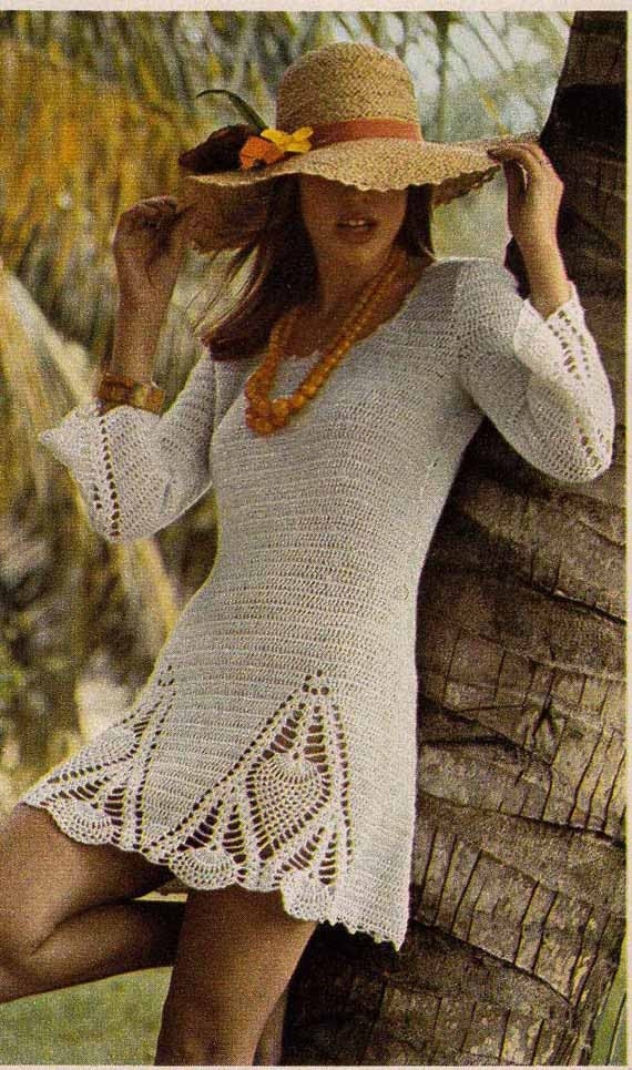 Boho Crochet Patterns : 1970s VINTAGE CROCHET PATTERN Boho Mini Dress & trousers/pants ...