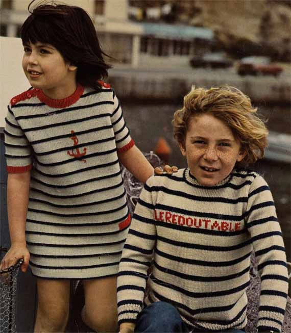 1970s VINTAGE KNIT PATTERN Pdf -Childen's Sailor Top/Dress, Nautical/Breton/Matelot Stripes, Instant Download from GrannyTakesATrip 0123