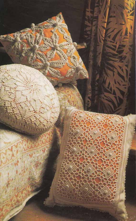 BOHO LACE CUSHIONS 1970s Knit & Crochet Pattern, Retro Home, Shabby Chic, Instant Download Pdf Pattern from GrannyTakesATrip 0145