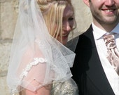 Papilotte Center Gathered Shoulder Bridal Veil Scalloped Edge With Pearls