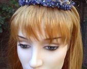 Mesopotamian Princess Bridal Tiara Circlet or Bun Wrap of Semi Precoius Gemstone Lapis Lazuli Chips