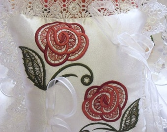 Sweet Country Roses Embroidered Ring Pillow