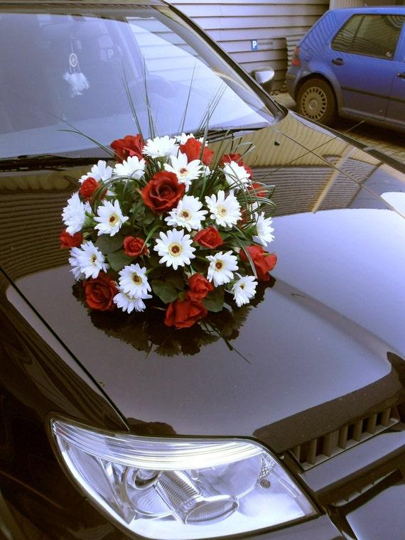 Wedding car flower arrangements : Round floral arrangement decoration for wedding car silk