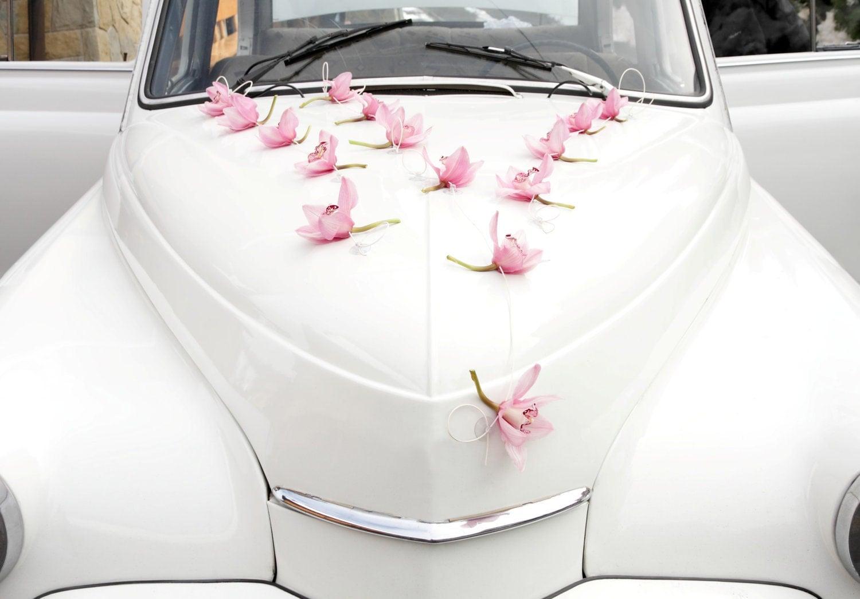 Flower Wedding Car Decorations : Single flowers wedding car decoration silk orchids real touch
