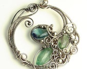 Rainbow Fluorite and Silver Sculpted Necklace Gemstone Circle
