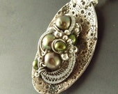 Olive Green Freshwater Pearl and Fine Sterling Silver Necklace