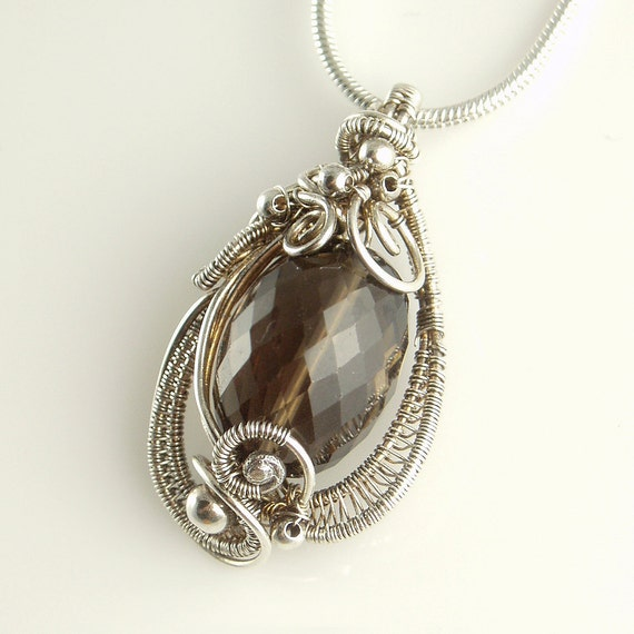Smokey Brown Quartz and Sterling Silver Wire Sculpted Necklace