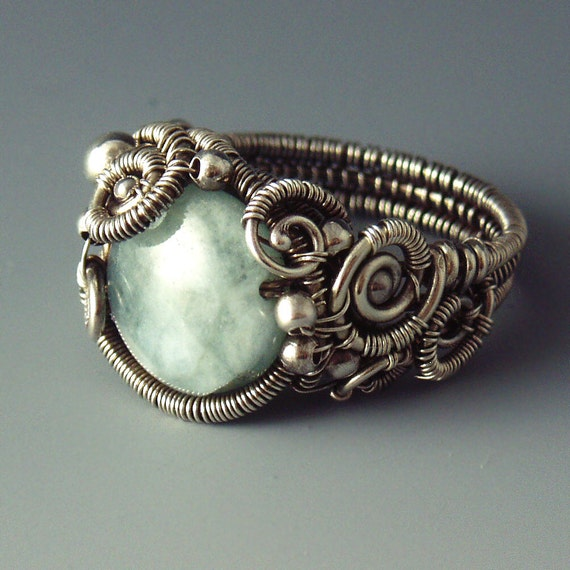 Blue-Green Aquamarine and Silver Sculpted Siren Ring