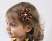 Brown Flower Clip - Flower Hair Bow Brown with Pearl - Adult Toddler Girl Flower Hair Bow