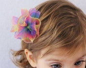 Rainbow Hair Bow Rosette - Baby Girl Toddler  - Rainbow Tie Dye Shimmer Photo Shoot Party