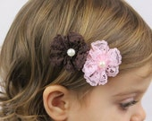 Lace Flower Hair Clip - Brown Light Pink Flower Lace Hair Bow - Vintage Style Lace Flowers