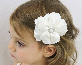 Ivory Wedding Flower Hair Bow - Fancy Layered Cream Flower Hair Bow - Ivory Flower Girl Bow