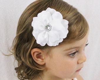 White Wedding Flower Hair Bow - Fancy Layered Flower Hair Bow - White Flower Girl Bow
