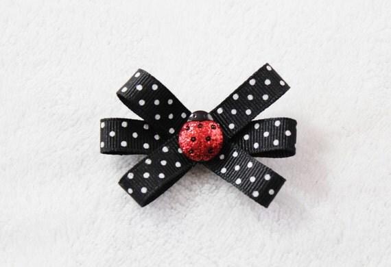 Ladybug Hair Bow - Black White Red Ladybug Bow - Hair Clip for Toddler Girl