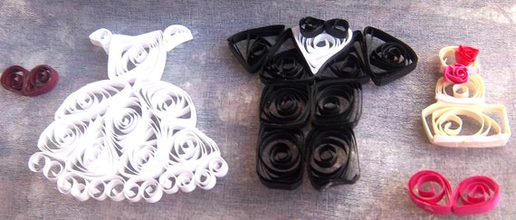 Paper Quilled Bride and Groom Embellishments