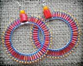 Fiesta hoop earrings in red, turquoise and yellow