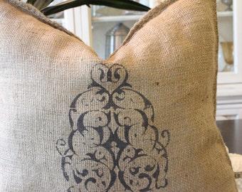 Grainsack Burlap Pillow - Modern Paisley - Dark Brown