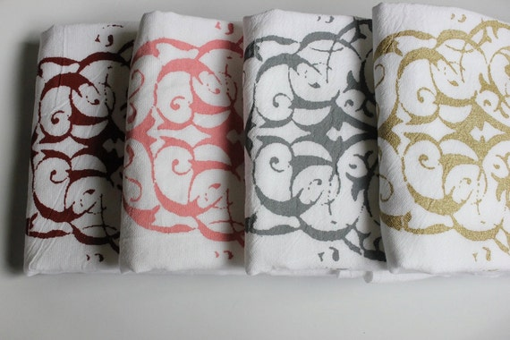 "SALE 6 ""MODERN PAISLEY"" - Tea Towels - Flour Sack Towels -Kitchen Towels  -  Modern Paisley  -Dish Towels"