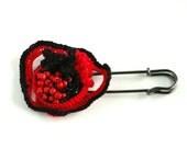 Red poppy flower shawl pin brooch fiber jewelry freeform crochet brooch