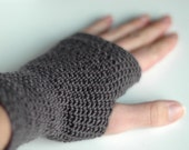 Crochet fingerless gloves, dark chocolate brown, silk merino, wrist warmers small