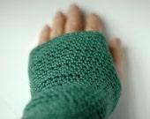 Soft fingerless gloves, merino wool wrist warmers in emerald green
