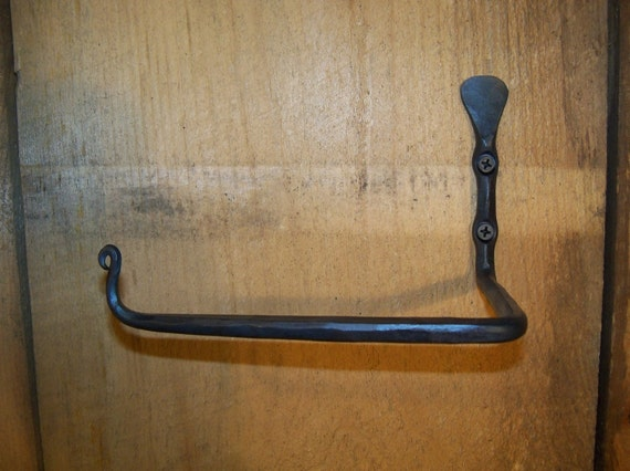 """Hand Forged """"Thumbprint"""" Toilet Tissue / Paper Holder made by Blacksmith (right mounted)"""