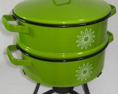 Country Cookery Enamelware Vintage Double Dutch Oven Avocado Green with Burner Casserole Nesting pans Sterno Mexico