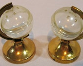 Vintage World Salt Pepper Shakers Globe Round Mini Clear Round Atlas Stand Collectible